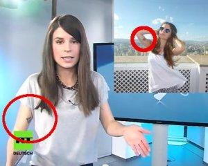 Jasmin Kosubek bei RT Deutschland und auf ihrem Facebook-Profil. Das Tattoo ist identischt.